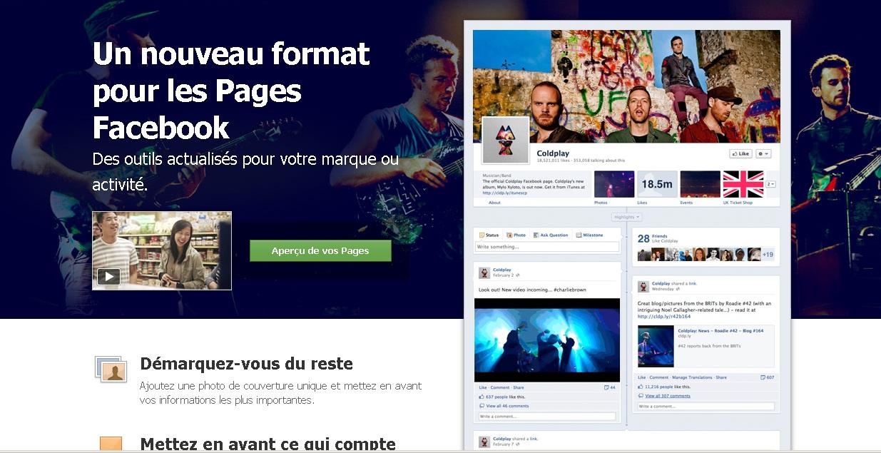 Les pages facebook adoptent la timeline
