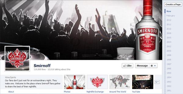 Page Facebook Smirnoff