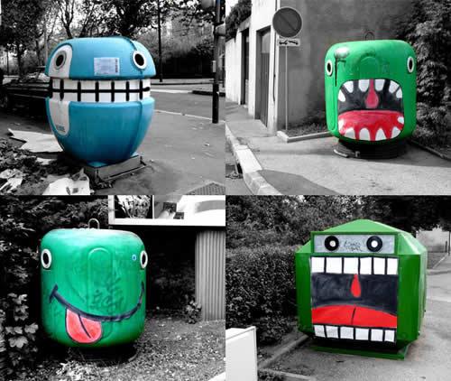 5 street art embellir la rue avec l 39 art design - Poubelle trois compartiments ...
