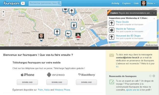 Le réseau Foursquare