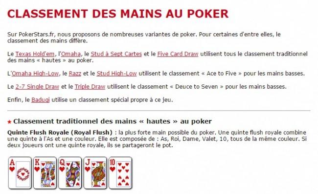 Contenu Pokerstars