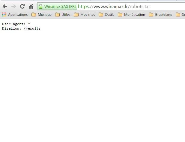 Fichier robots.txt Winamax